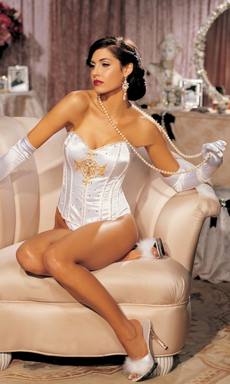 White Couture Corset Gold Cross